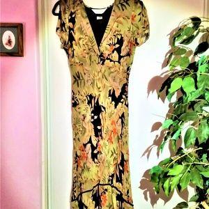 Silk Olive green Dress Size 8